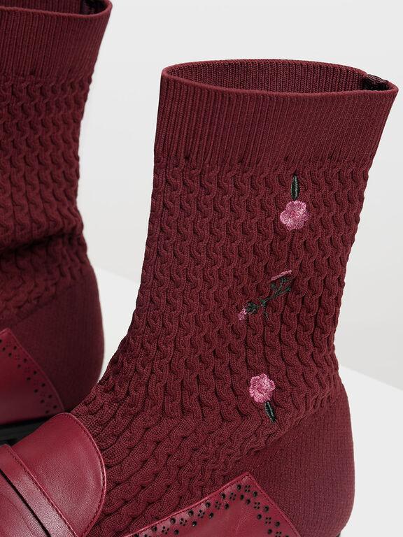 Leather Loafer Effect Sock Boots, Burgundy, hi-res
