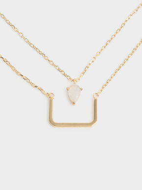 Moonstone Layered Matinee Necklace, Gold