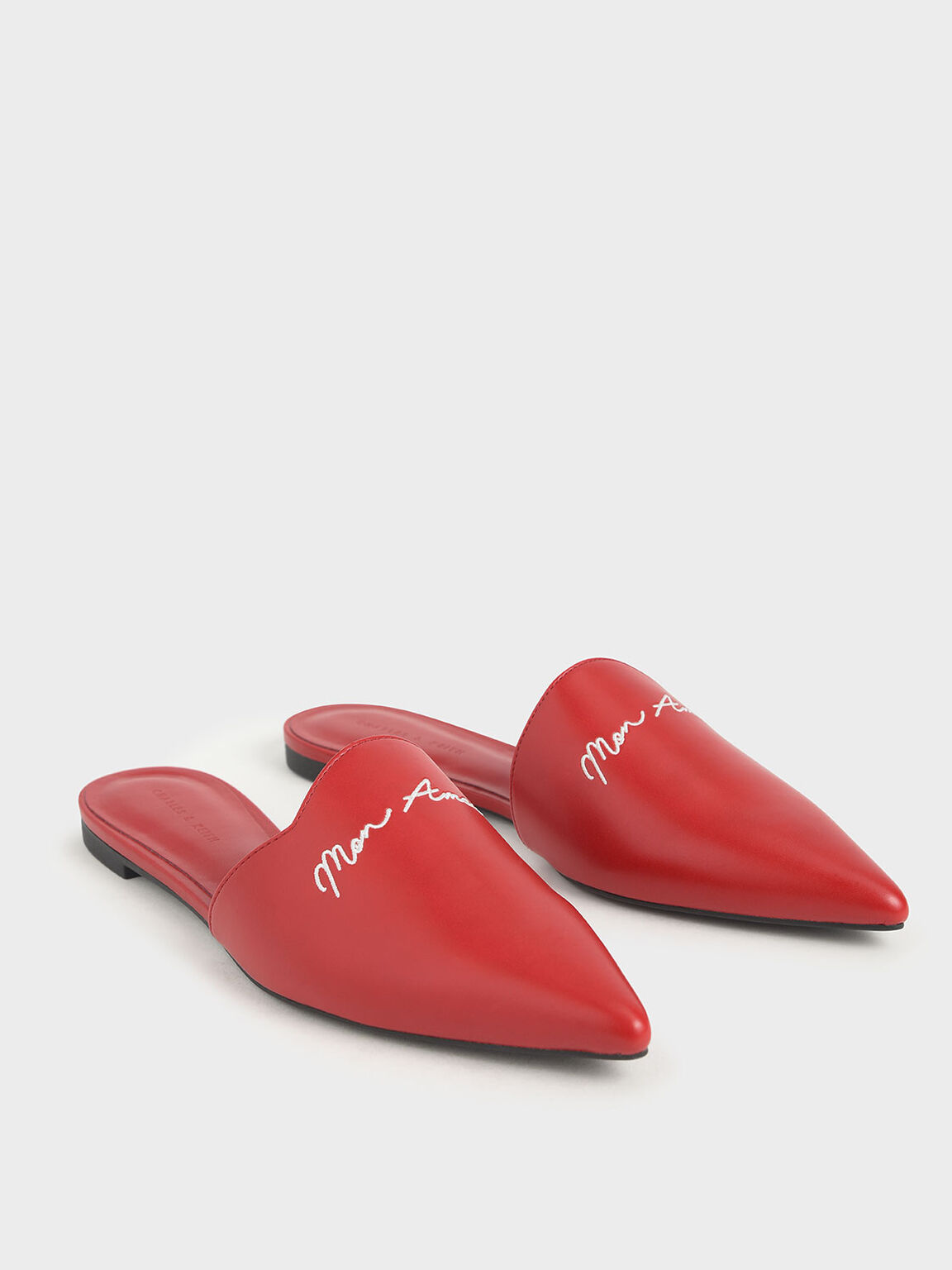 Embroidered Pointed Mules, Red, hi-res