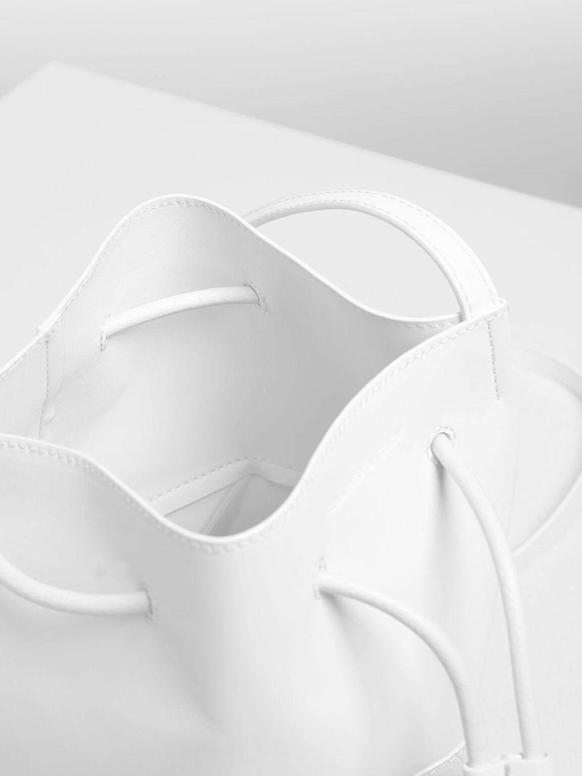 Geometric Drawstring Bucket Bag, White, hi-res