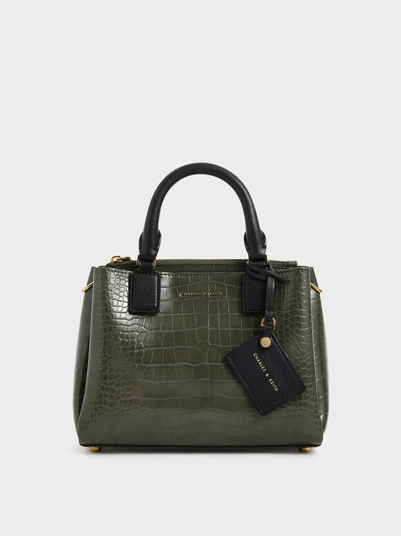 Croc-Effect Structured Bag, Olive, hi-res