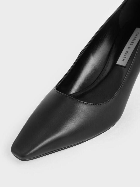 Kitten Heel Court Shoes, Black, hi-res