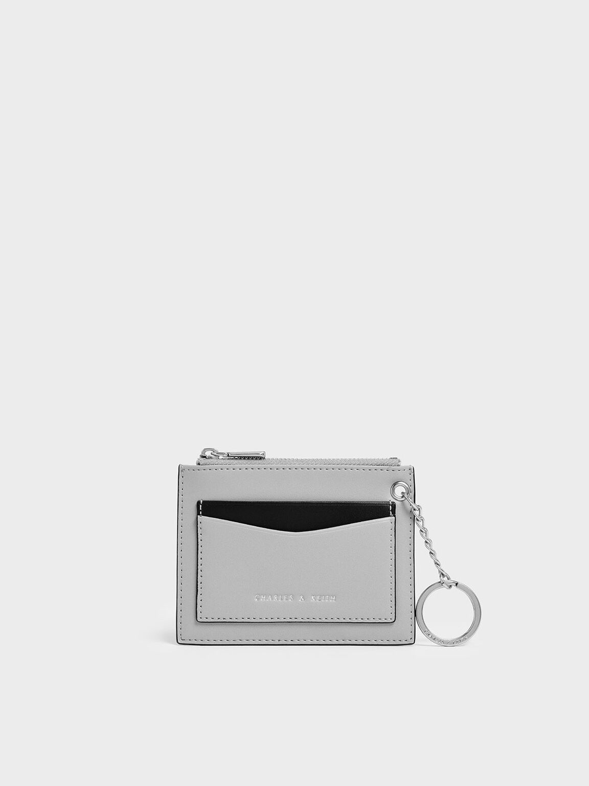 Two-Tone Zip Pocket Card Holder, Grey, hi-res