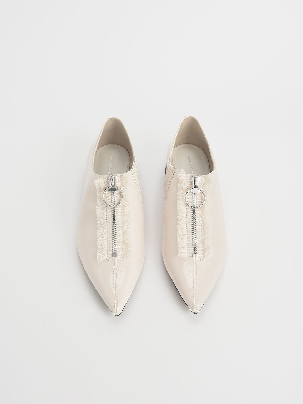 Wrinkled Patent Frayed Zip Front Loafers, Beige, hi-res