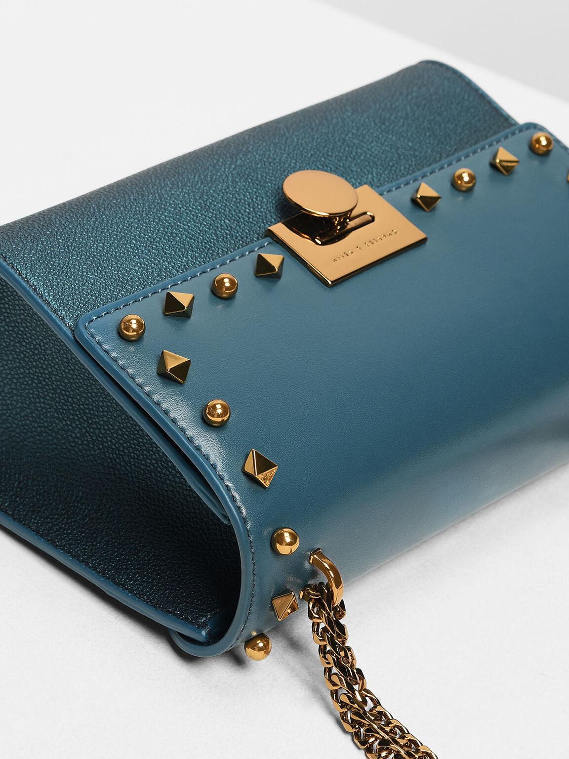 Stud Detail Push Lock Bag, Teal, hi-res
