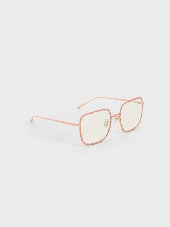 波浪方框墨鏡, 粉紅色, hi-res
