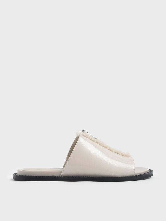 Wrinkled Patent Frayed Zip Front Slide Sandals, Beige, hi-res