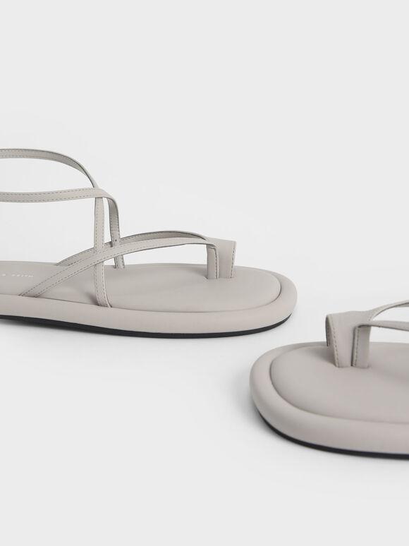 交叉繞踝夾腳涼鞋, 灰色, hi-res
