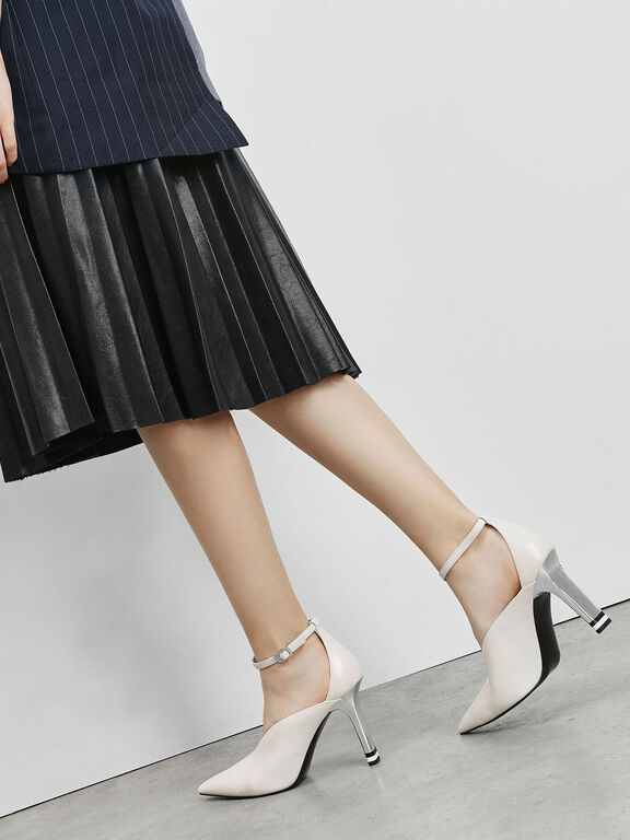 V-Cut Pointed Toe Pumps, Chalk