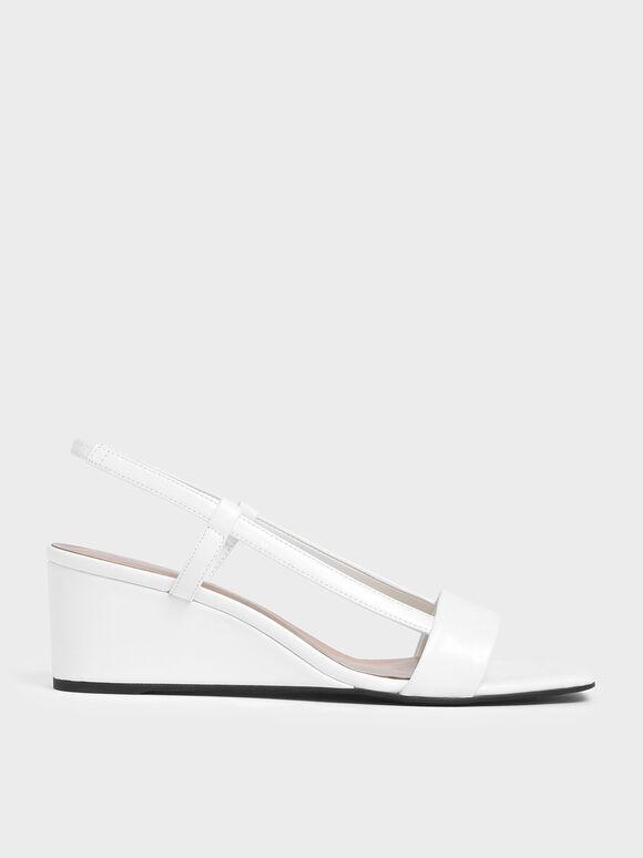 Square Toe Slingback Wedges, White, hi-res