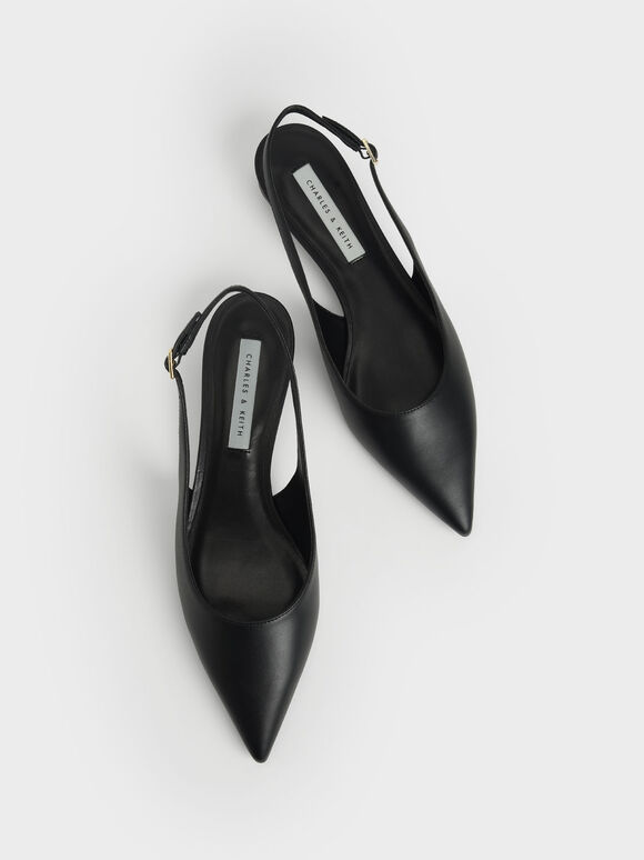 後踝帶尖頭低跟鞋, 黑色, hi-res