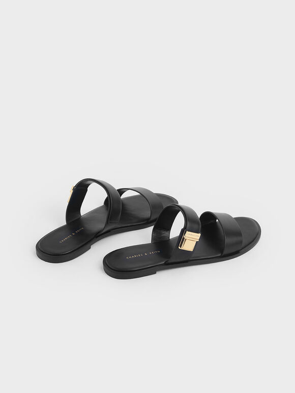 金屬扣拖鞋, 黑色, hi-res