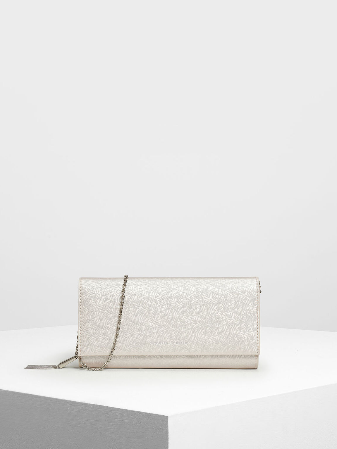 Front Flap Long Wallet, Pearl, hi-res