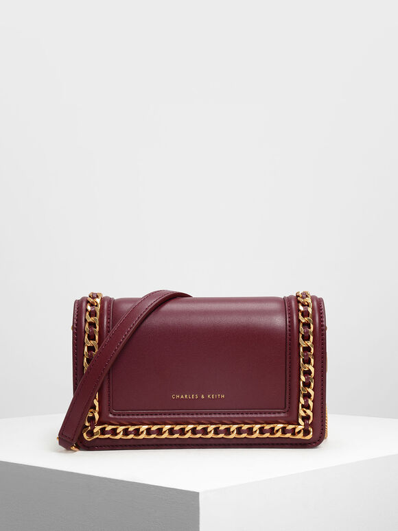 Chain Rimmed Clutch, Prune, hi-res