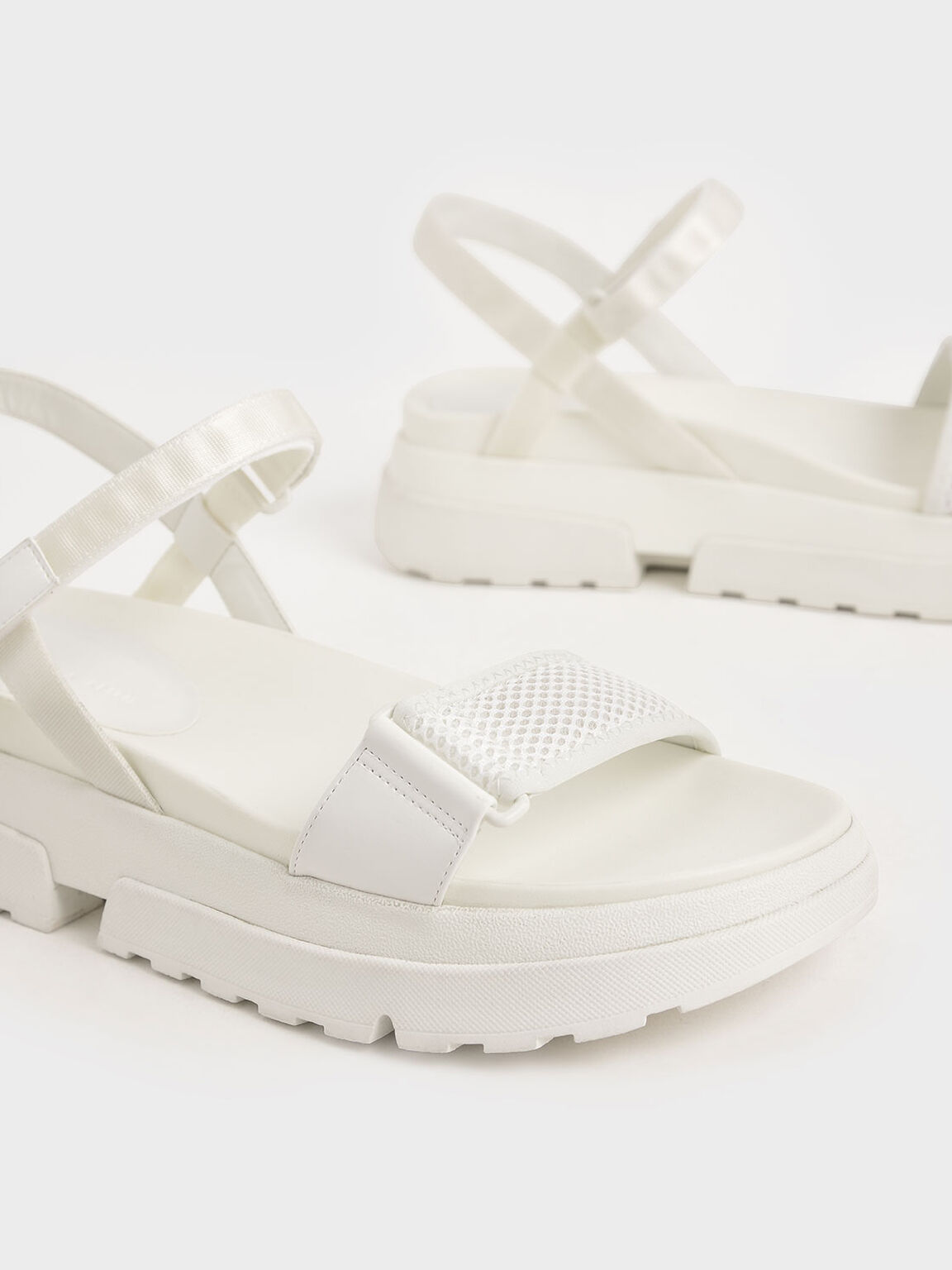 Mesh & Grosgrain Flatform Sandals, White, hi-res