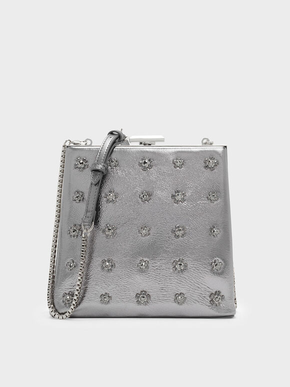 Leather Embellished Leather Clutch, Silver, hi-res