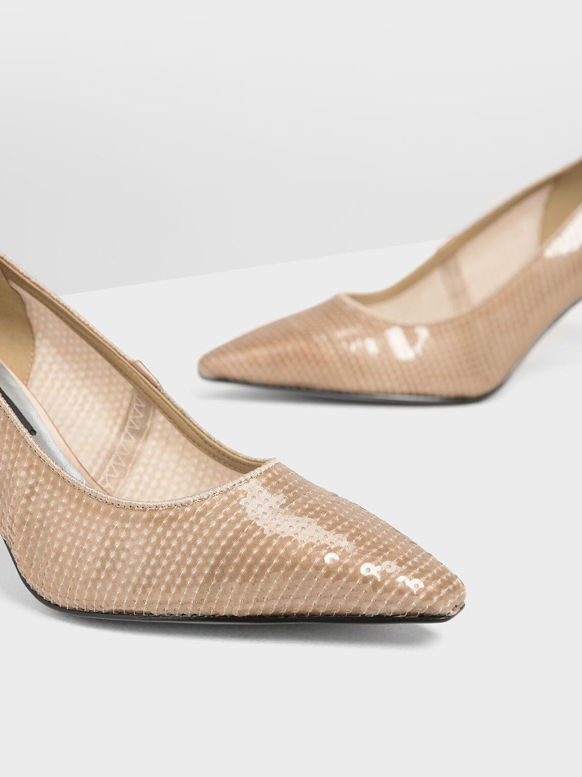 Sequin Mesh Pointed Toe Pumps, Nude, hi-res