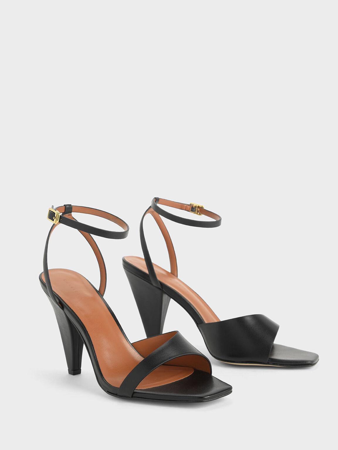 Asymmetric Strap Cone Heel Sandals, Black, hi-res