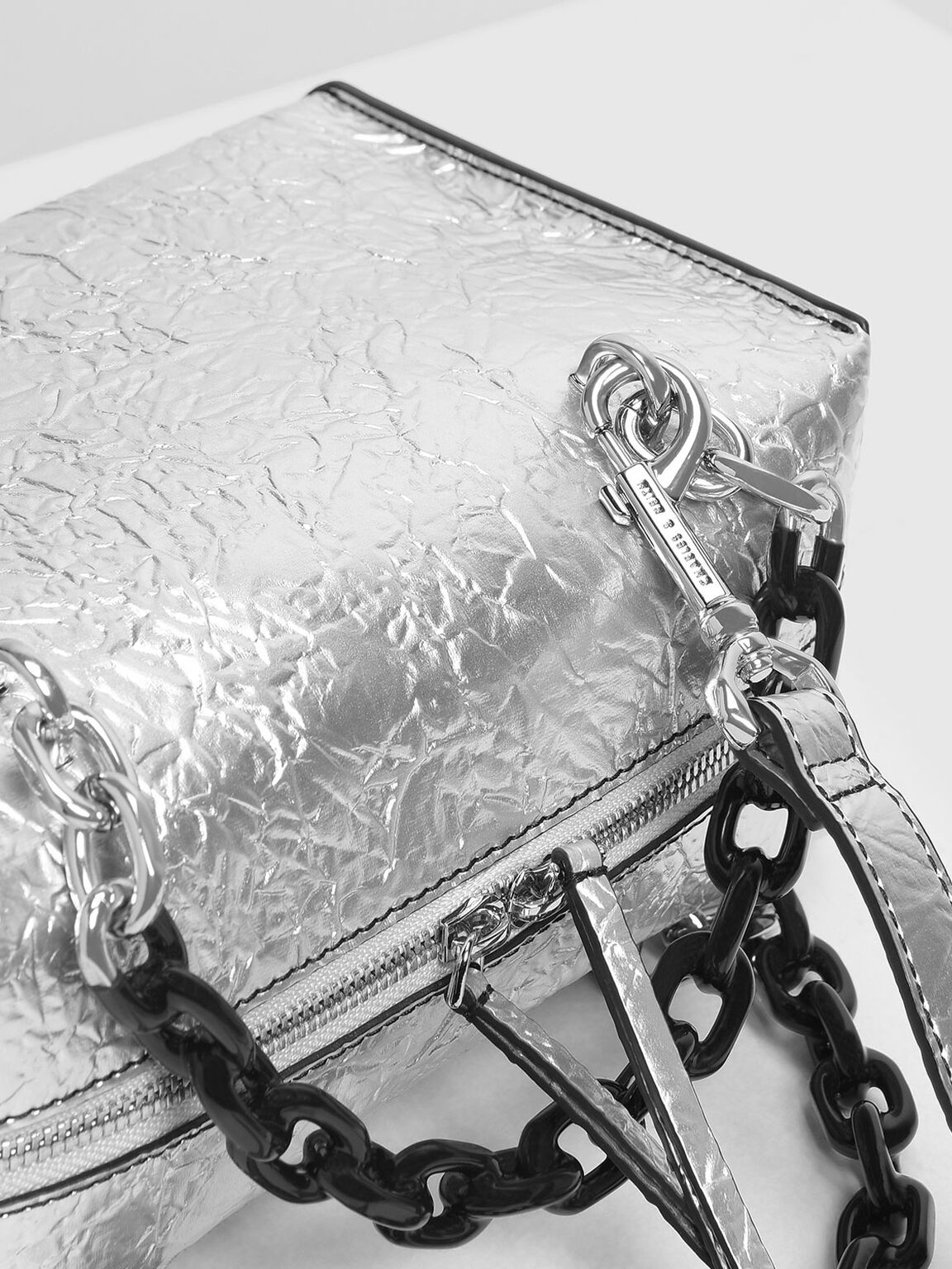 Double Chain Handle Bag, Silver, hi-res