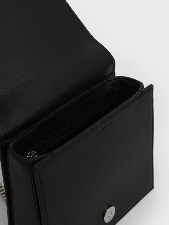 Leather Chain Strap Boxy Bag, Black, hi-res