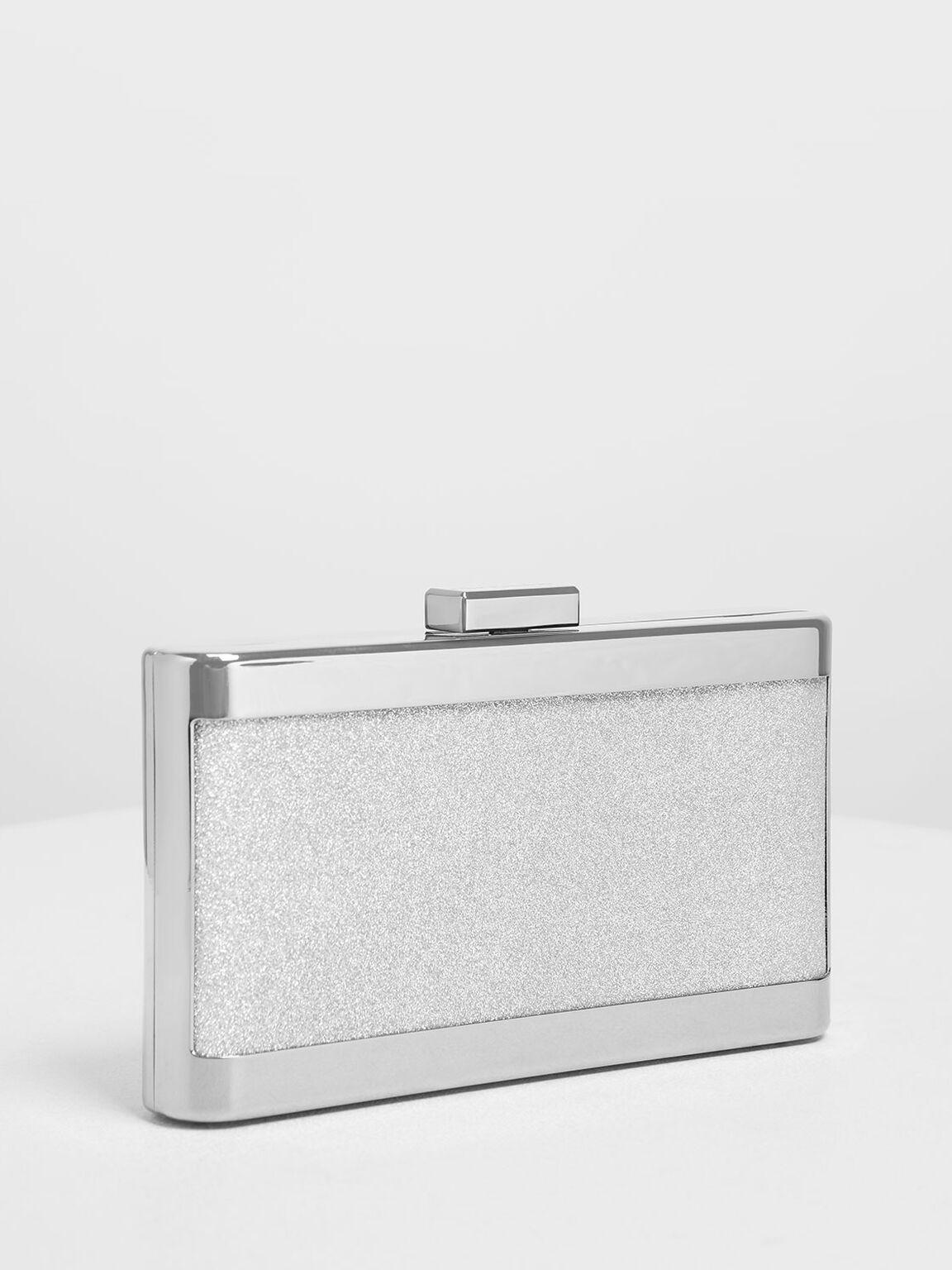 Glitter Acrylic Clutch, Silver, hi-res