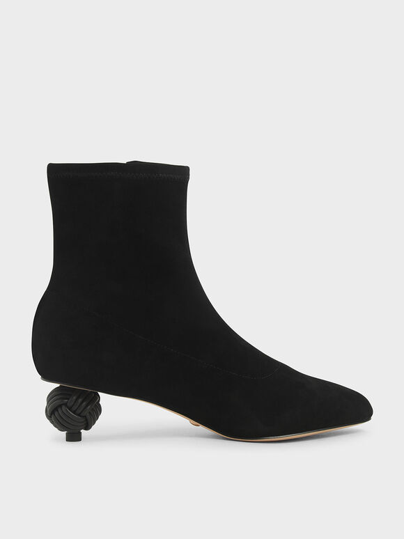 Sculptural Heel Ankle Boots (Kid Suede), Black Textured, hi-res