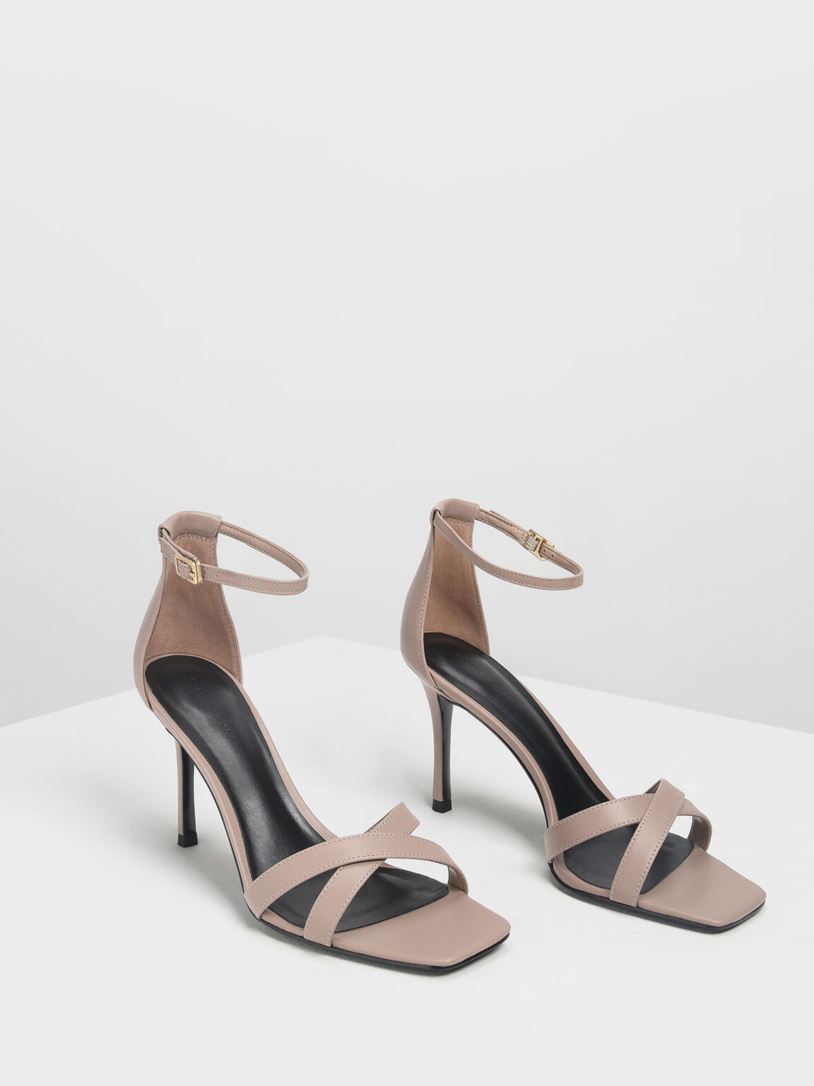 Classic Crossband Heeled Sandals, Taupe, hi-res