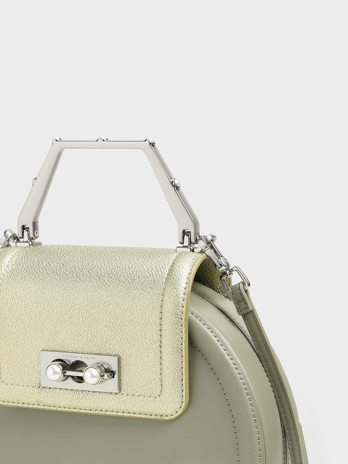 Top Handle Hat Box Bag, Sage Green, hi-res