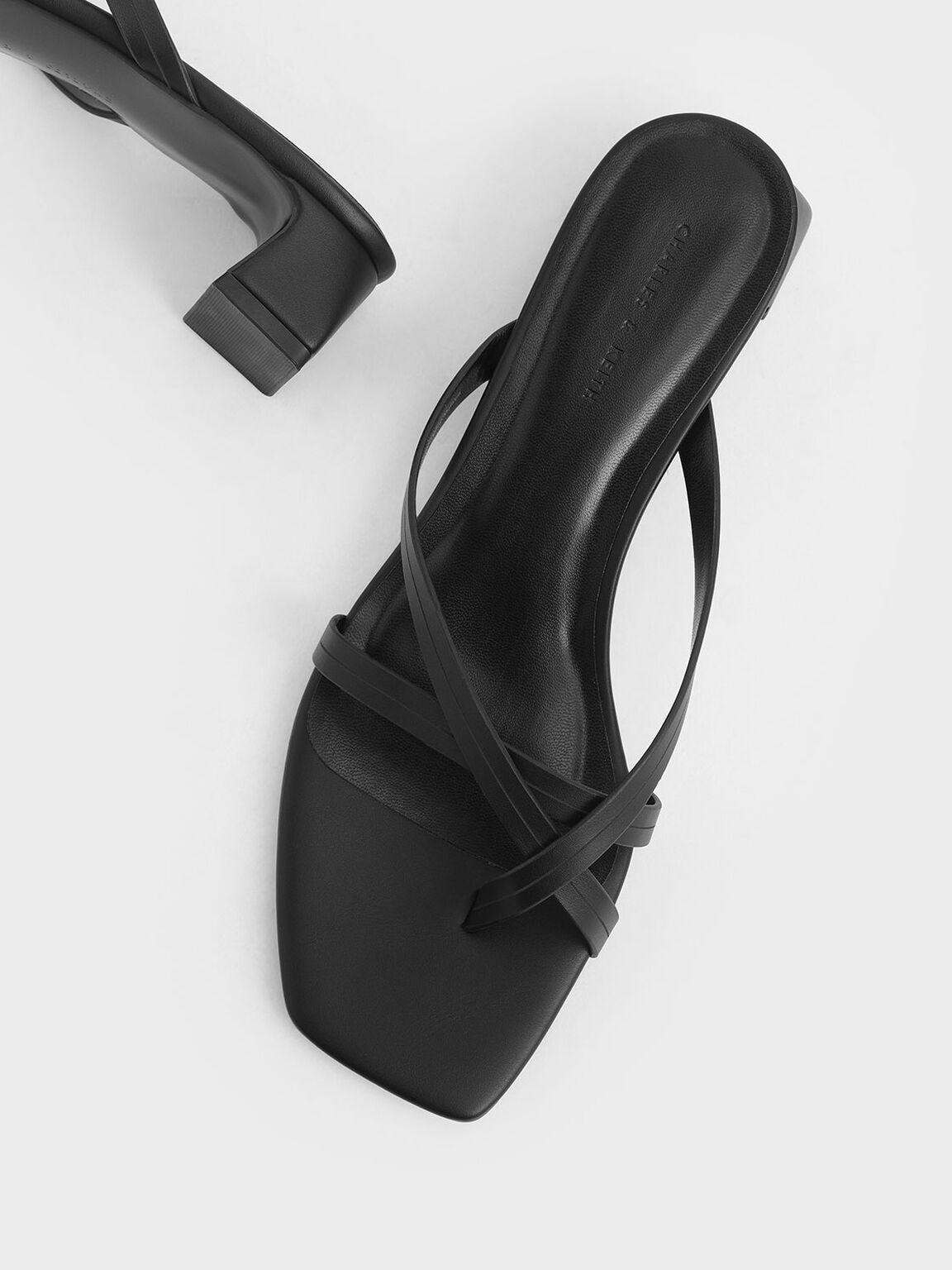 Strappy Toe Loop Heeled Sandals, Black, hi-res
