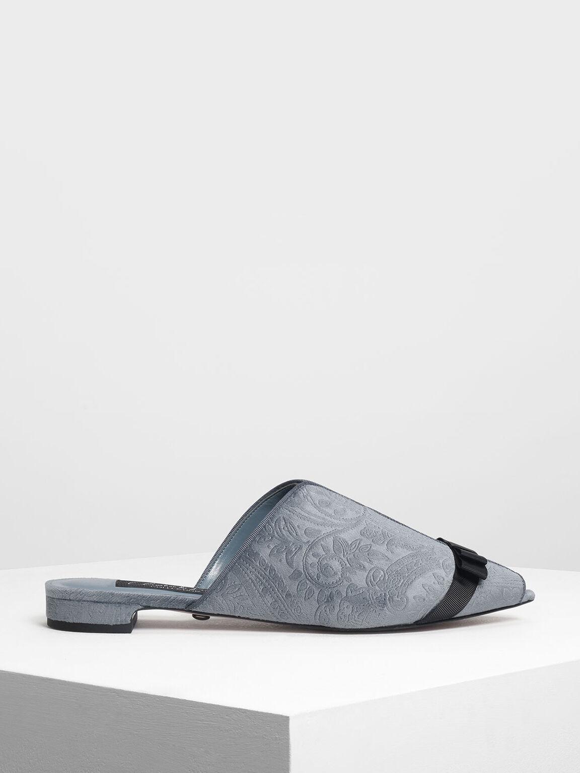 Bow Detail Peep Toe Velvet Mules, Light Blue, hi-res