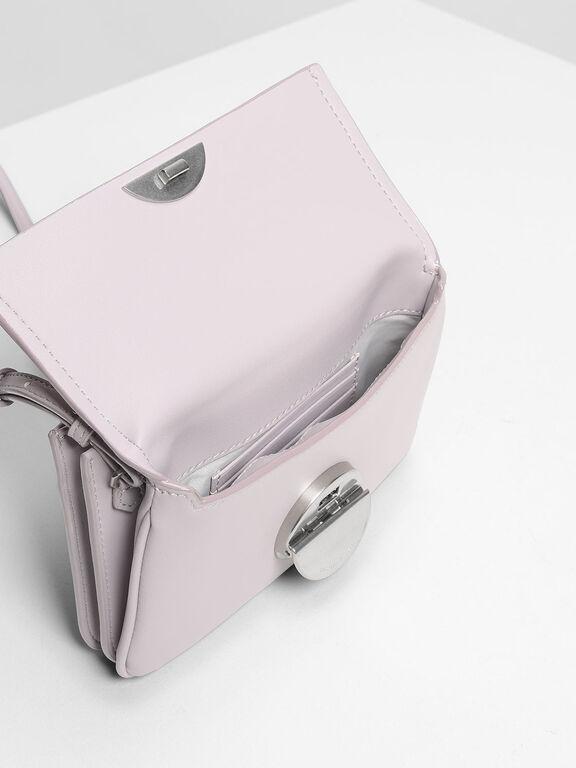 Metallic Accent Push Lock Pouch, Lilac, hi-res