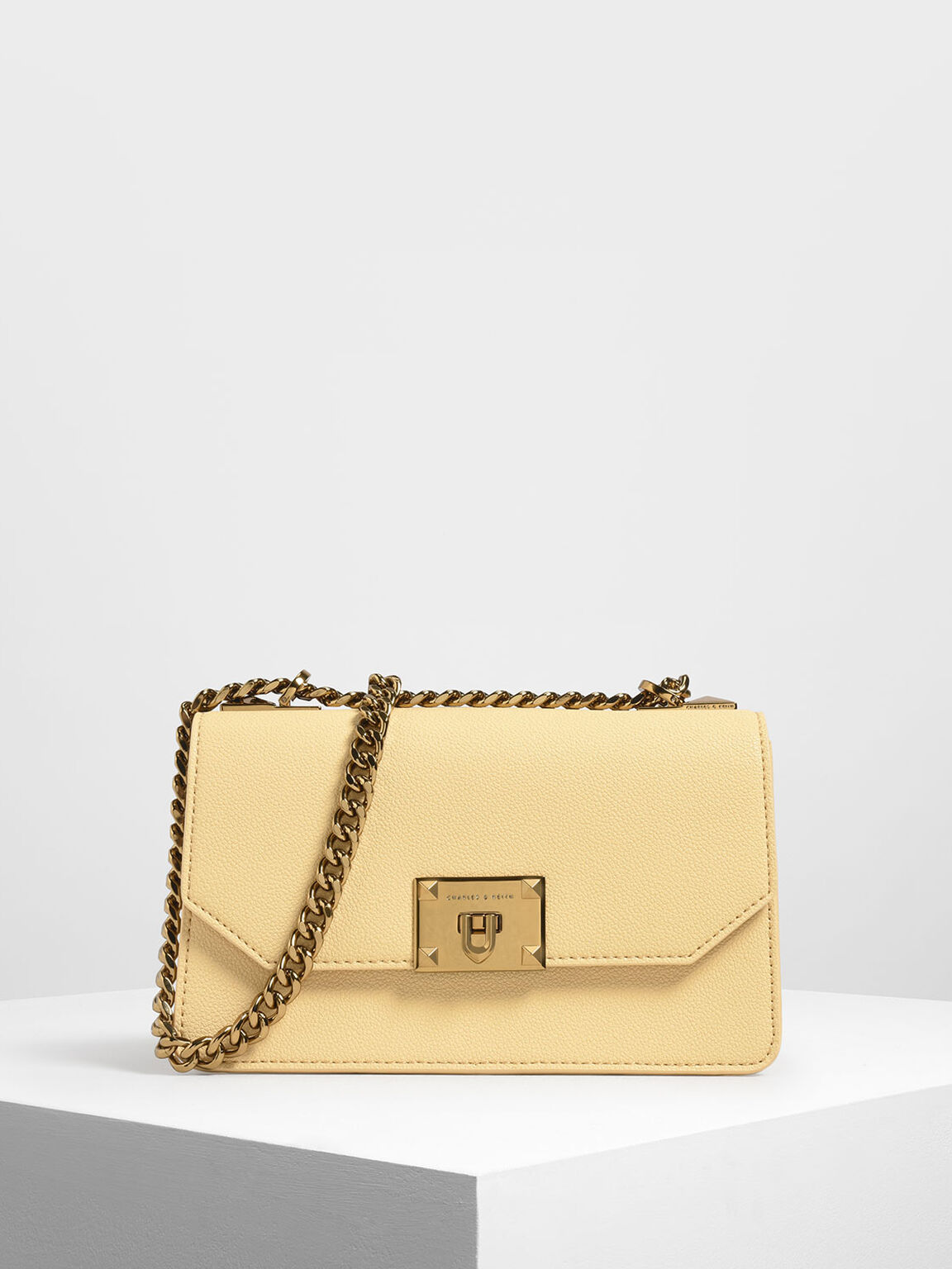 Metal Push Lock Crossbody Bag, Yellow, hi-res