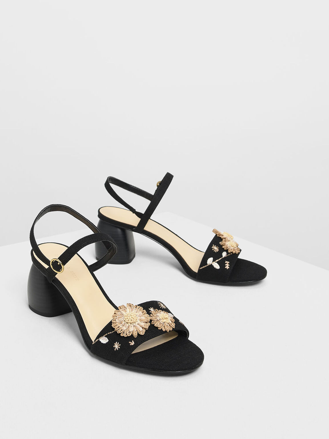 Open Toe Floral Sandals, Black, hi-res