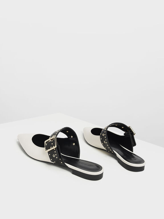 Studded Buckle Mules, Chalk
