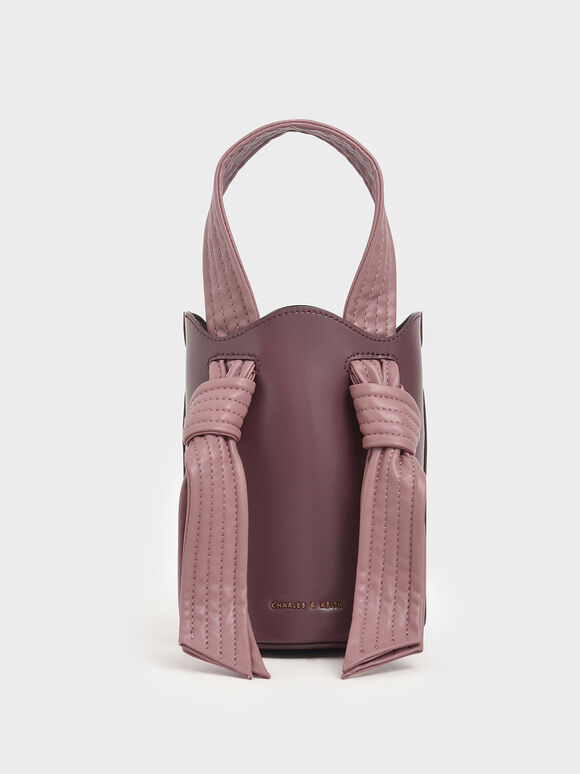 Ruched Knot Handle Bucket Bag, Pink, hi-res