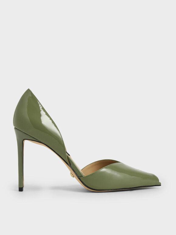 Leather Peep-Toe D'Orsay Pumps, Green, hi-res