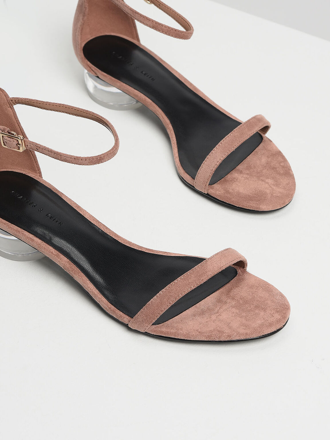 Lucite Heel Ankle Strap Sandals, Taupe, hi-res