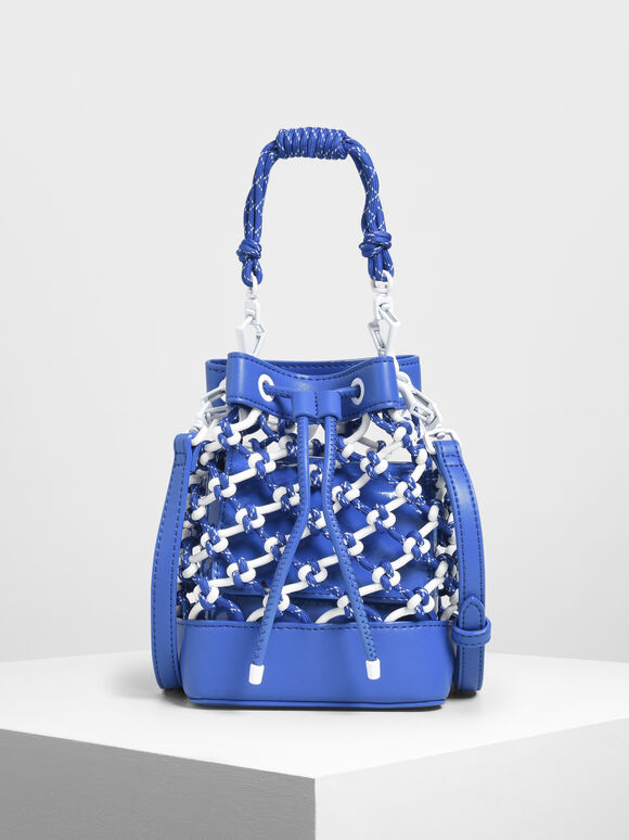 Netted Drawstring Bucket Bag, Blue, hi-res