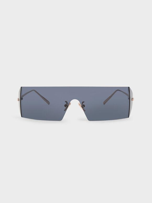 Rectangular Shield Sunglasses, Blue, hi-res