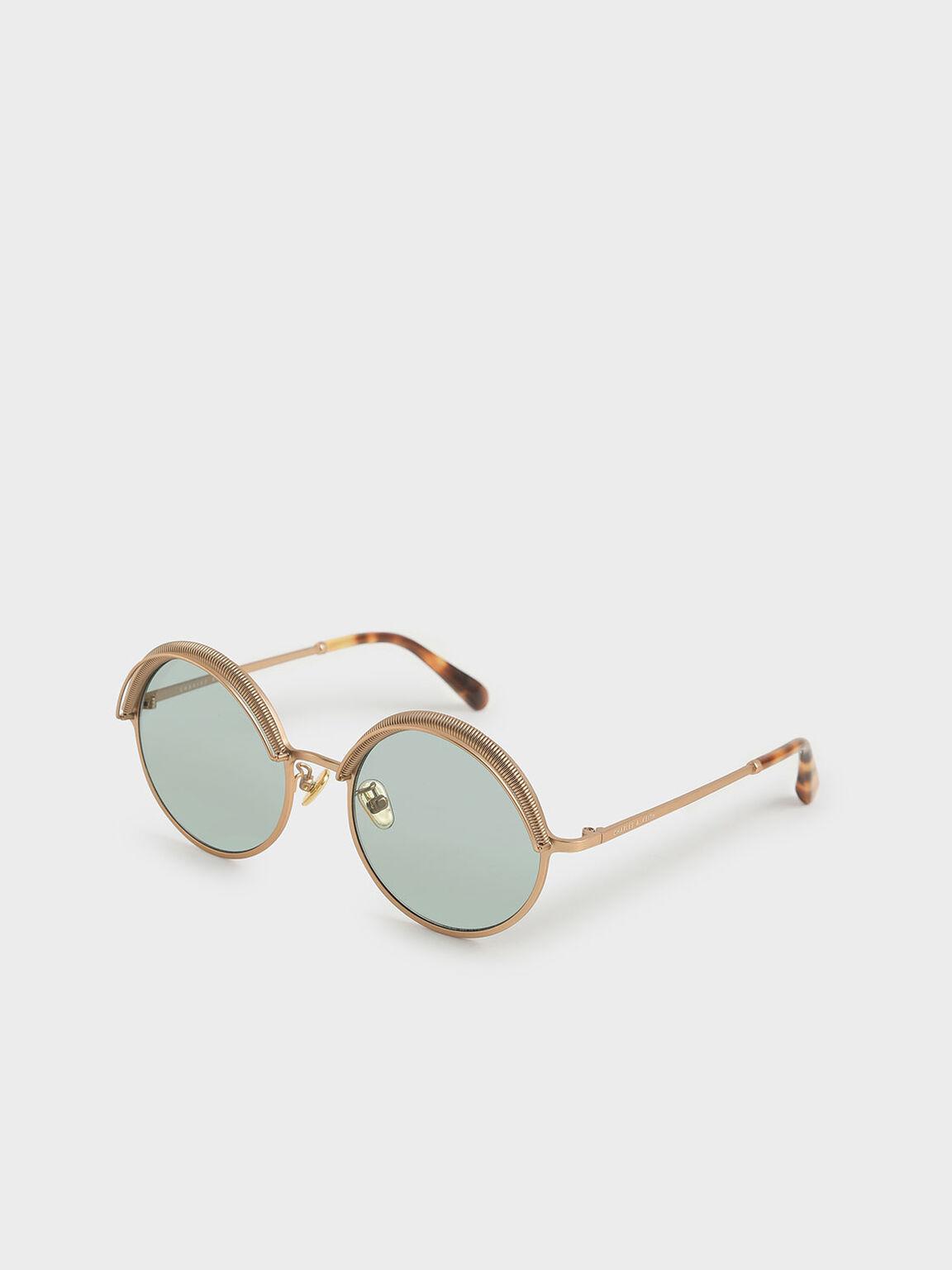 Half Rim Round Sunglasses, Green, hi-res