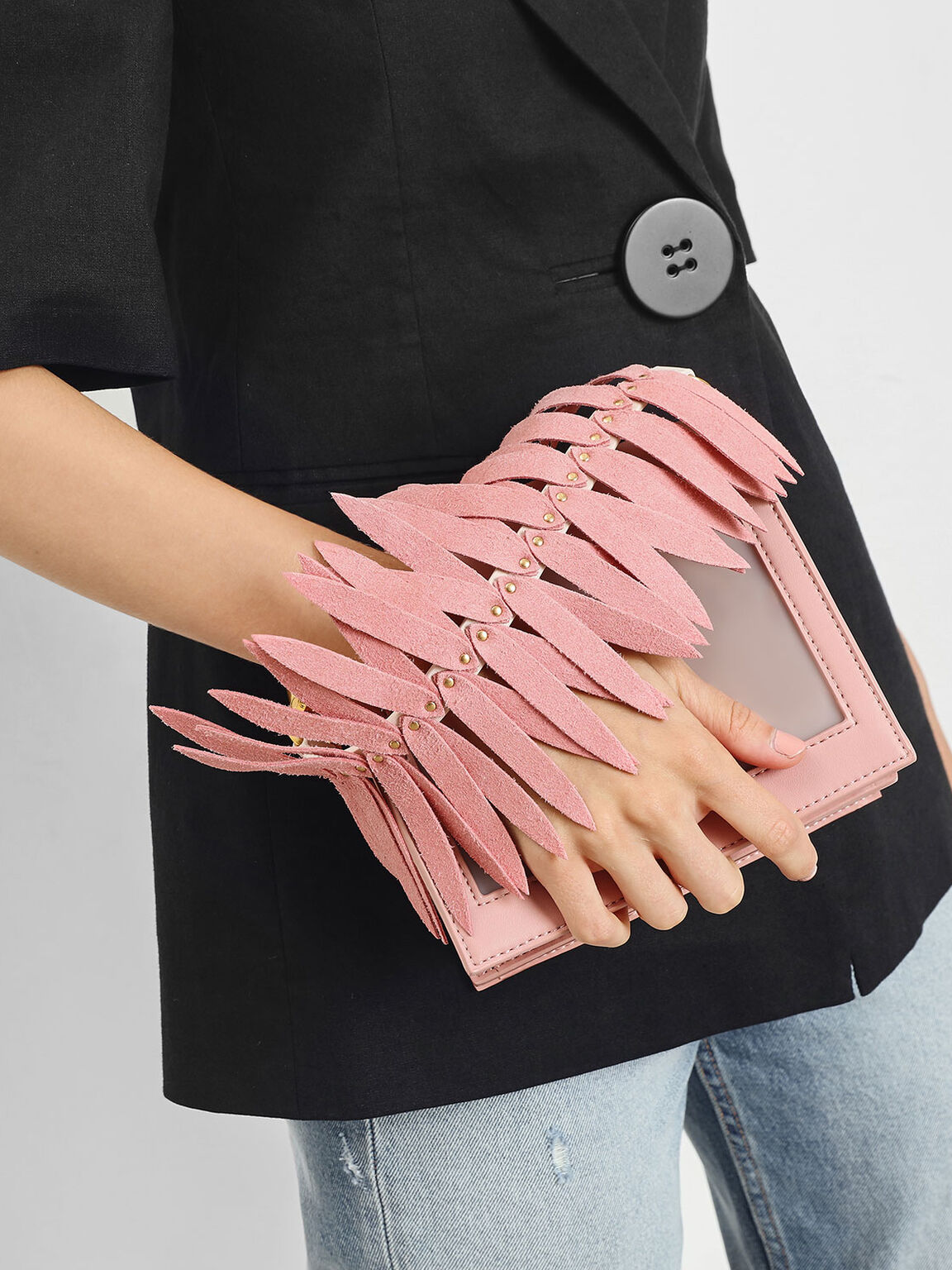 Flare Fringe Mini Bag Strap, Pink, hi-res