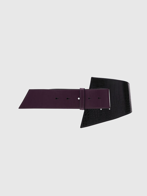 Two-Tone Croc-Effect Asymmetric Waist Belt, Black, hi-res