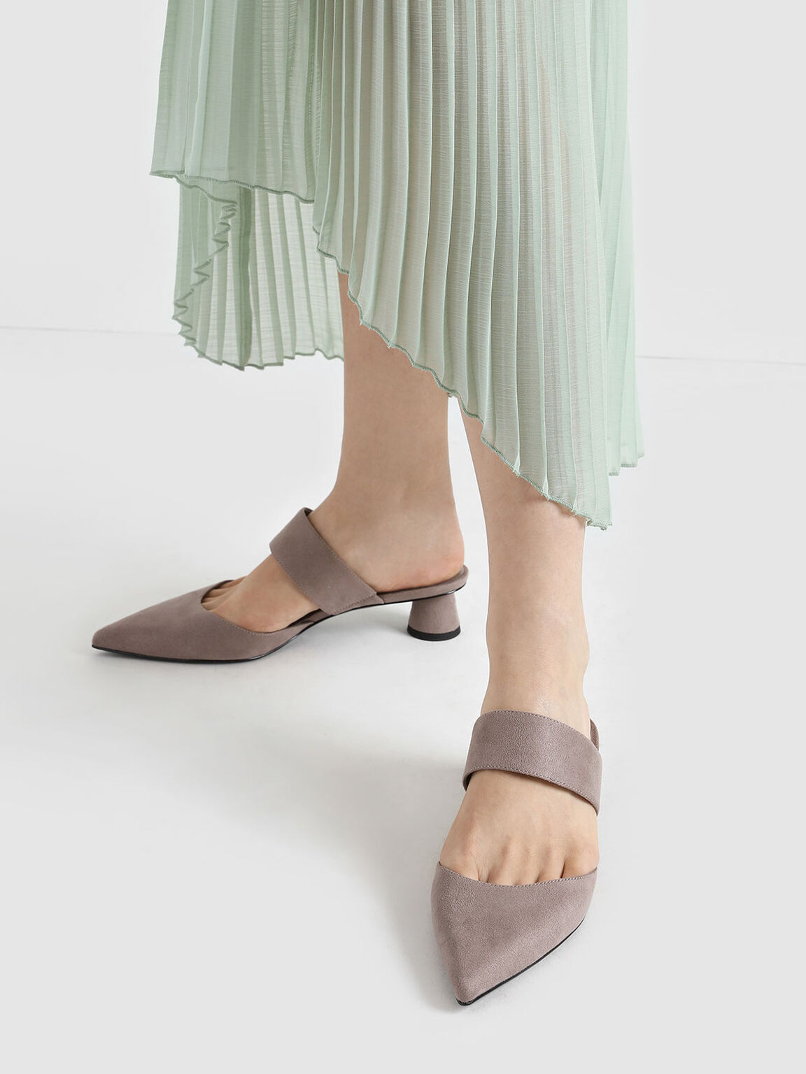 Textured Thick Strap Cylindrical Heel Mules, Taupe, hi-res