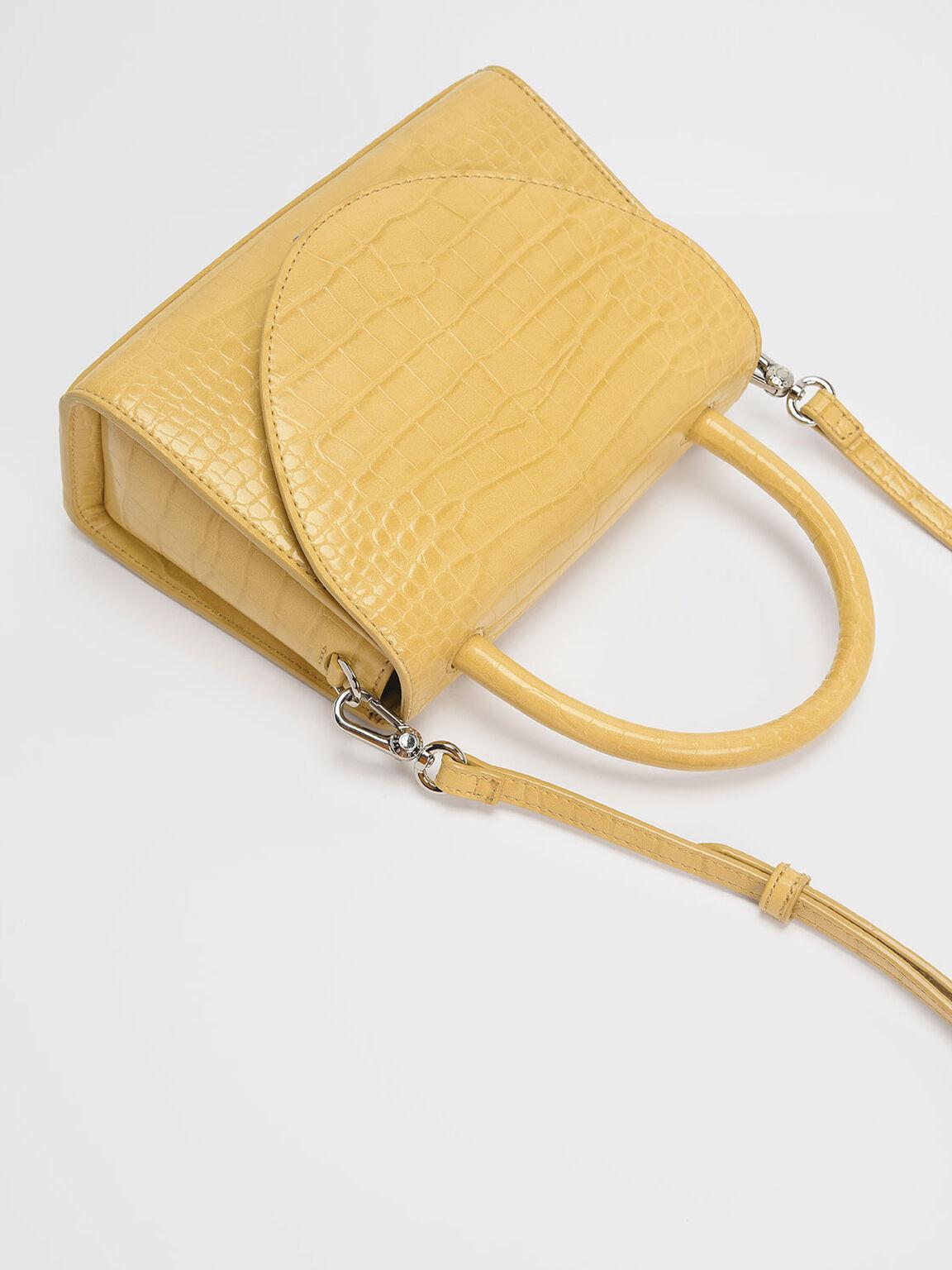 Croc-Effect Structured Top Handle Bag, Yellow, hi-res