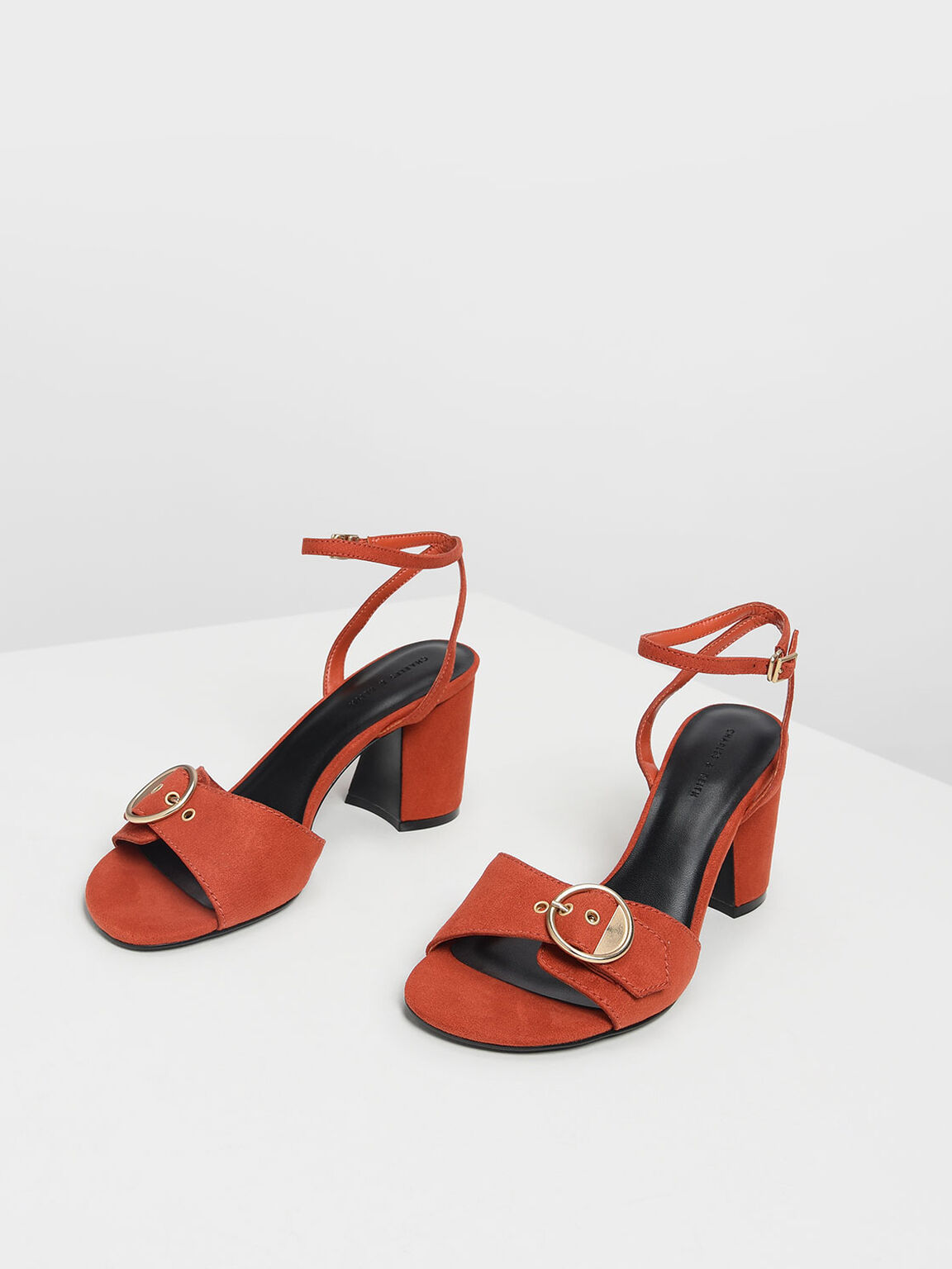 Gold Buckle Detail Heeled Sandals, Orange, hi-res
