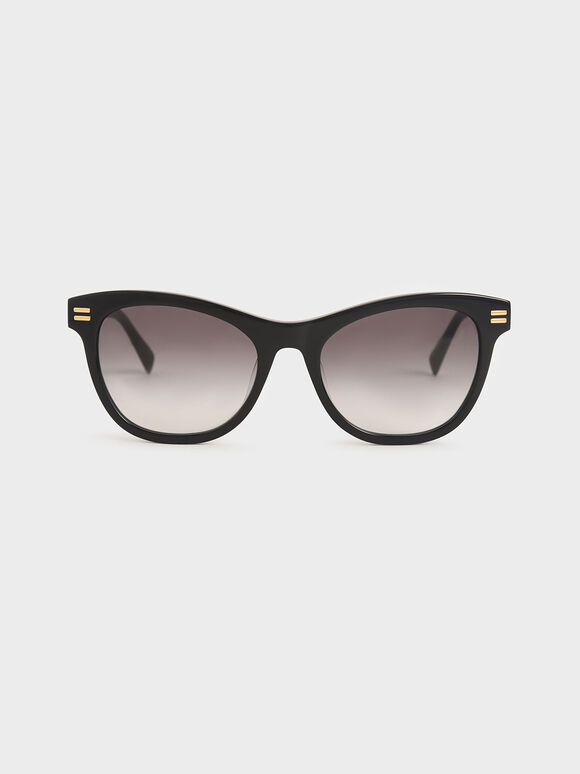 Acetate Rectangular Sunglasses, Black, hi-res