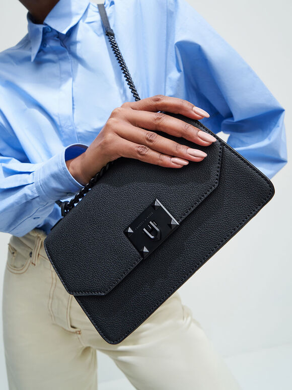 Classic Push-Lock Crossbody Bag, Matte Black, hi-res