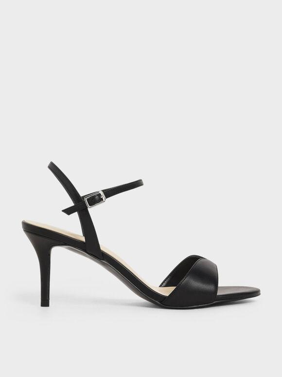 Sweetheart Topline Ankle Strap Heels, Black, hi-res