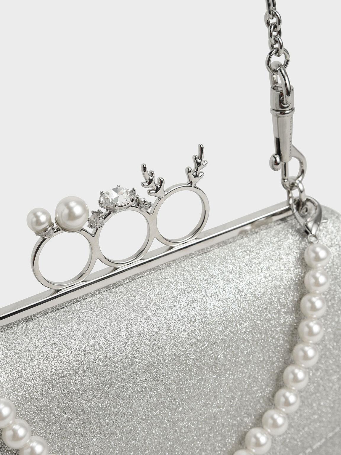 寶石環手拿包, 銀色, hi-res