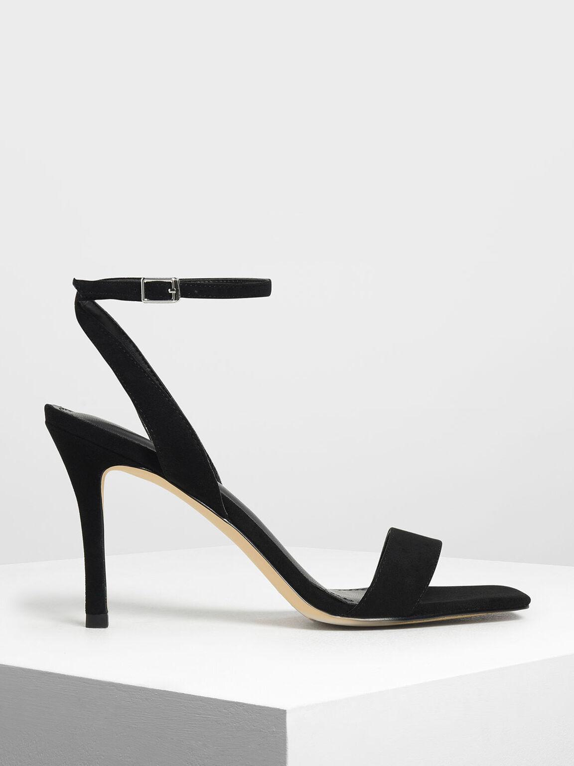 Open Toe Ankle Strap Stiletto Sandals, Black, hi-res